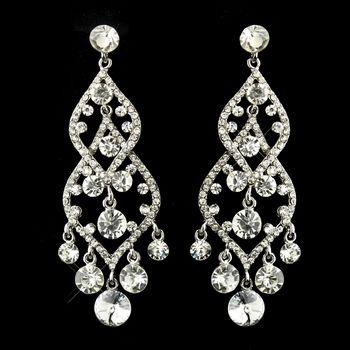 Silver Clear Rhinestone Chandelier Earrings Prom Jewelry