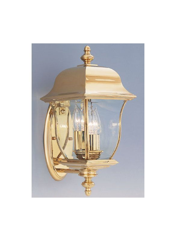 Designers Fountain 1542 Pvd Pb Polished Br Finish 3 Light 8 Wall Lantern Solid From The Gladiator Collection