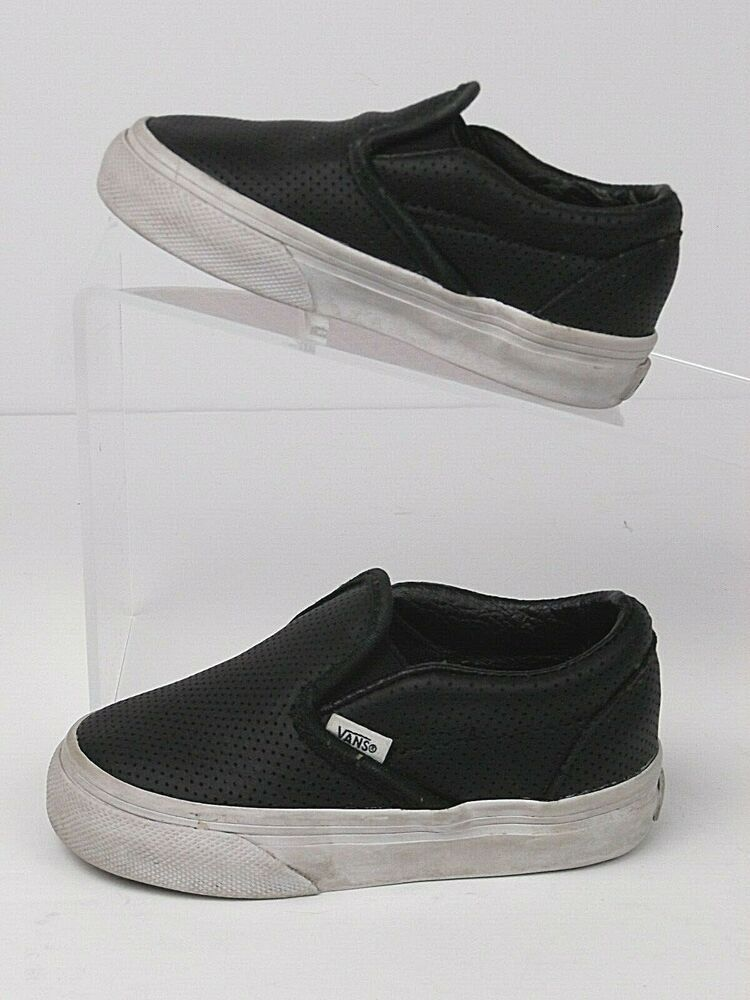 Vans Toddler Black & White Shoes Size 5.5 5-1/2 Leather ...