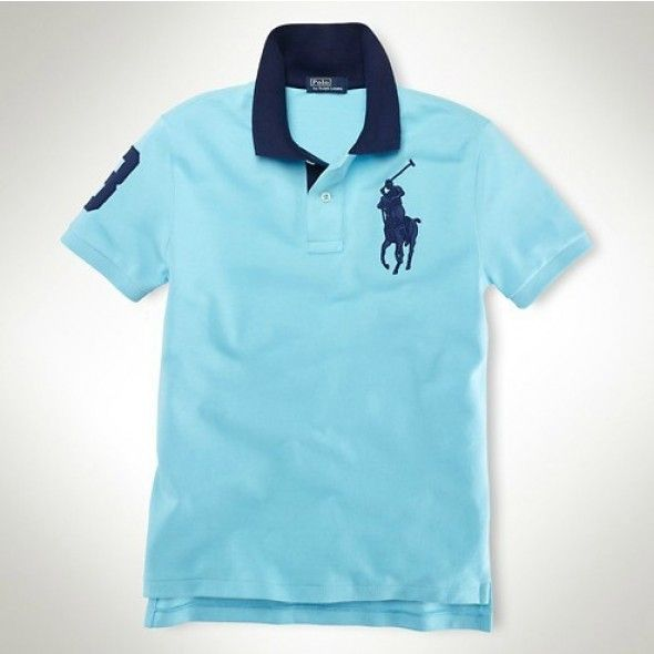 031ee4a316d Ralph Lauren Men Navy Big Pony Polo Sky-blue  rl 653  - £