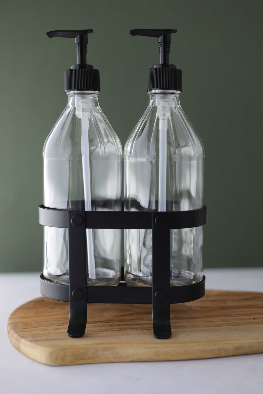 Vintage Kitchen Dish Soap Hand Soap Dispenser Set With Black
