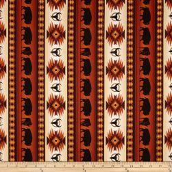 Tucson Buffalo Stripe Terracotta Western Quilts Upholstry