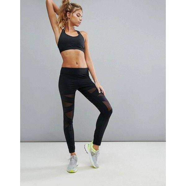 Reebok Mesh Panel Legging ( 98) ❤ liked on Polyvore featuring activewear 842b6b4d603