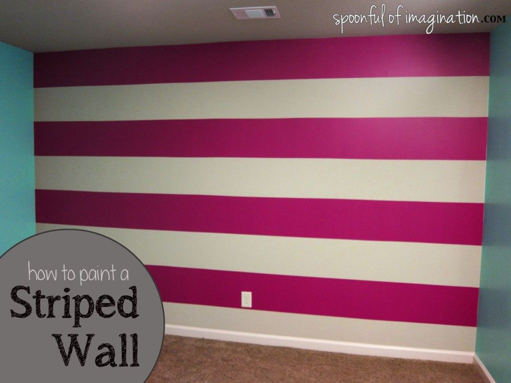 How to paint a striped wall love this idea for the for Painting stripes on walls in kids room