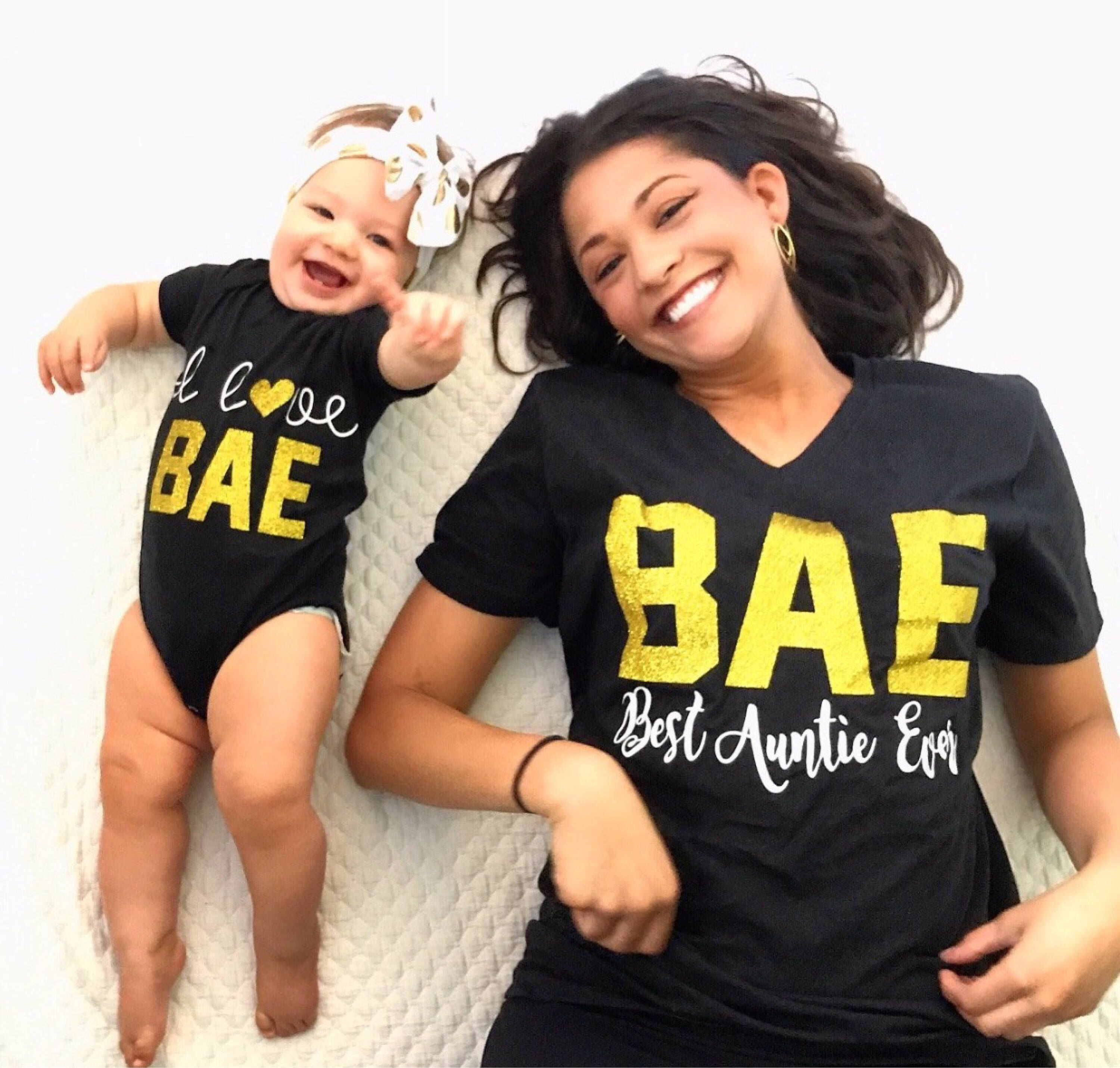 99011cec BAE Best Auntie Ever, I Love Bae, Matching Aunt/Niece Shirts, Aunt ...