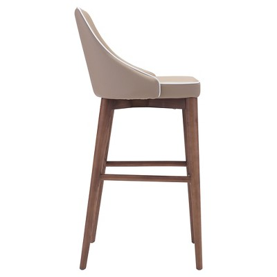 Wing Back Faux Leather 30 Barstool Beige Zm Home
