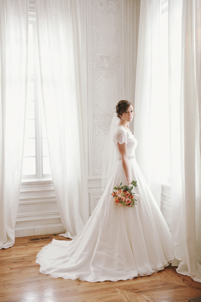 wedding dress with a ball gown skirt, short-sleeve with beaded lace ...
