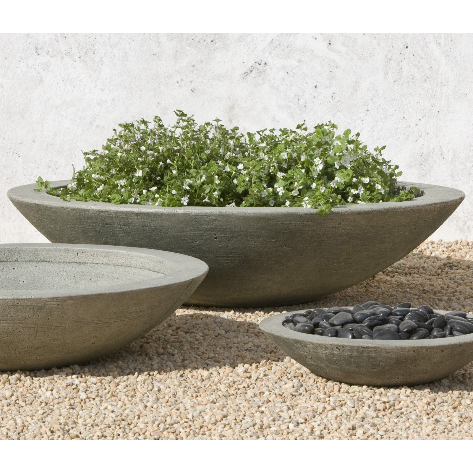 Campania International Small Low Zen Cast Stone Planting Bowl