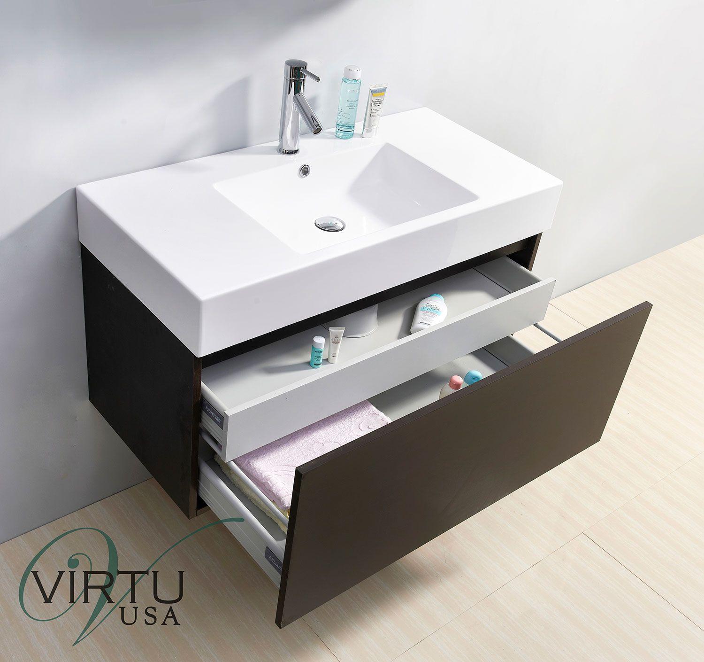 Virtu Usa Zuri 39 Inch Wall Mounted Wenge Bathroom Vanity