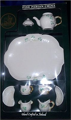 New Belleek Ireland Miniature Teapot Complete Teaset Four Leaf Clover Shamrock Ebay Tea Set Miniature Tea Set Tea Pots