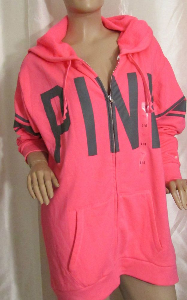 VICTORIA'S SECRET Pink Women Boyfriend Full Zip Hoodie Color Pink Sz Large NWT  #VictoriasSecret #Hoodie