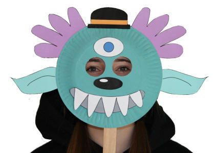 Paper Plate Alien Monster Mask - we used this idea to make and decorate Monkey masks with my tots PK class after reading Caps for Sale and Curious George.  sc 1 st  Pinterest & Paper Plate Alien Monster Mask | Story Time: Fairy Tales | Pinterest ...