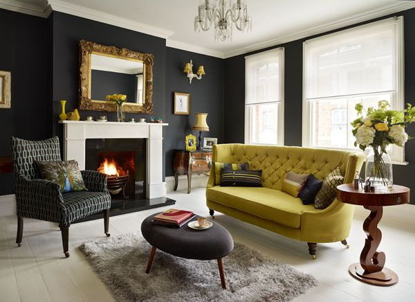 A Victorian maisonette - black living room. Like the black something other than yellow tho & Living Room With Dark Dramatic Walls: 30 Ideas | Condo ideas ...
