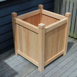 Henley Extra Large Wood Square Planter Natural With Square 400 x 300