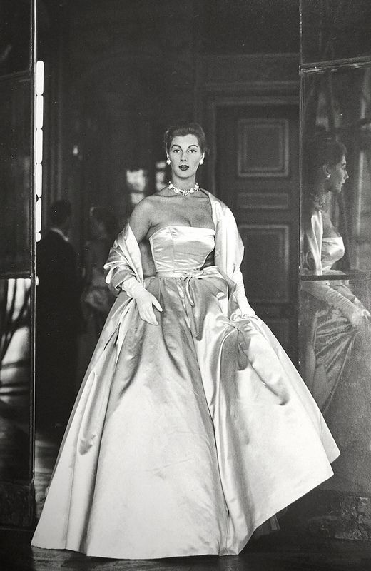 Fiona Campbell-Walters wearing duchess satin ballgown at Versailles, 1952 - Frances McLaughlin-Gill