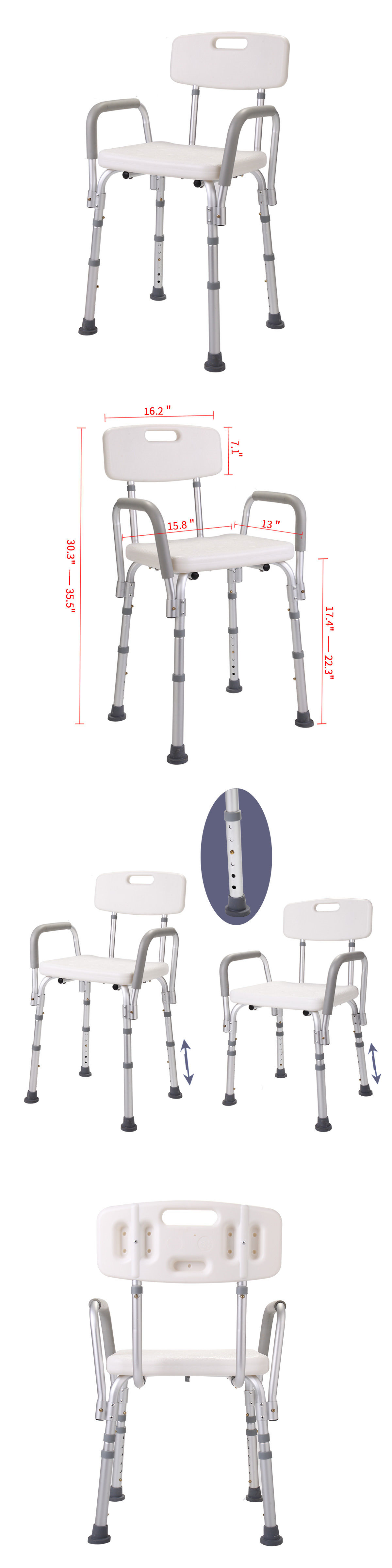 Shower and Bath Seats: Height Adjustable Medical Shower Chair ...