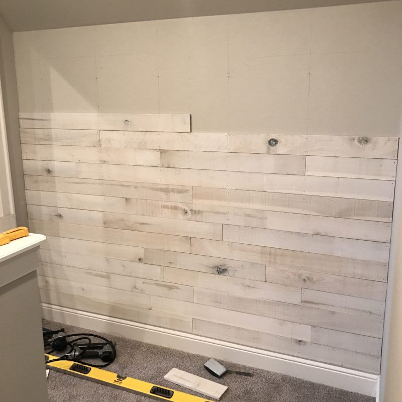 White Washed Wood Wall Made From Cedar Fence Boards: How To Create An Accent Wall Using White Washed Boards
