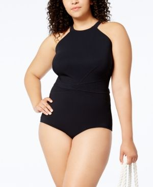 Profile by Gottex Plus Size High-Neck One-Piece Swimsuit