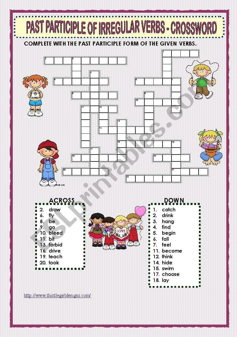 Past Participle Of Irregular Verbs Crossword Irregular Verbs Crossword Verb [ 1169 x 821 Pixel ]