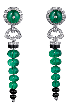 Platinum earrings with emeralds, diamonds and onyx, Sortilège de Cartier, Cartier.