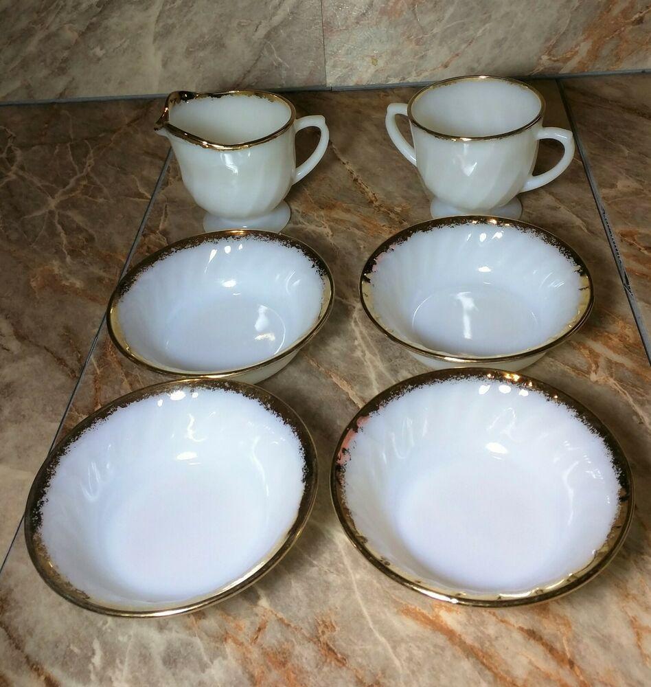 Vtg 1950s Fire King Ivory Milk Glass 22kt Gold Rim Bowls Creamer Sugar Mint Anchorhocking Artdeco Milk Glass Creamer Sugar Bowl