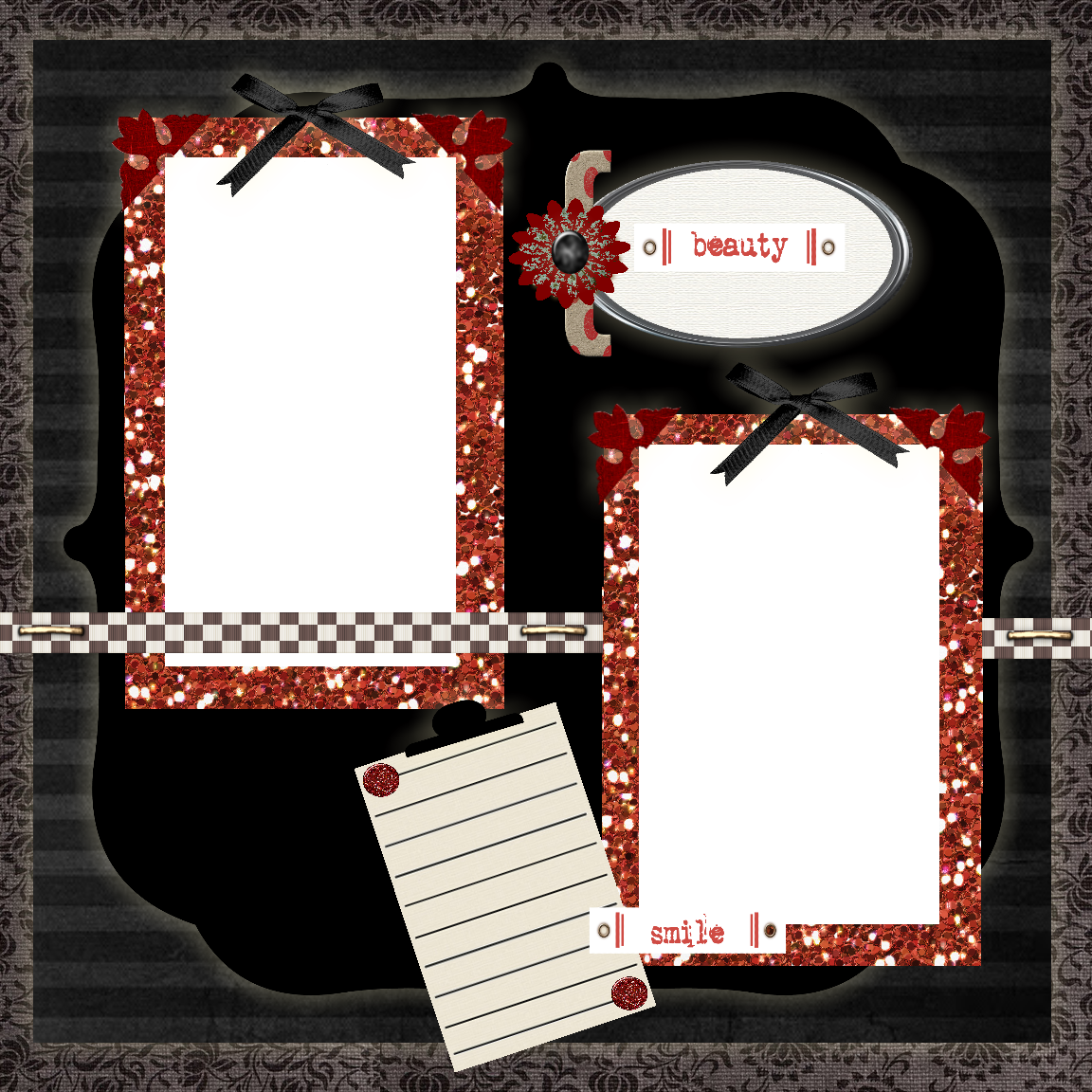 Free printable scrapbook layouts black red and white for Templates for scrapbooking to print