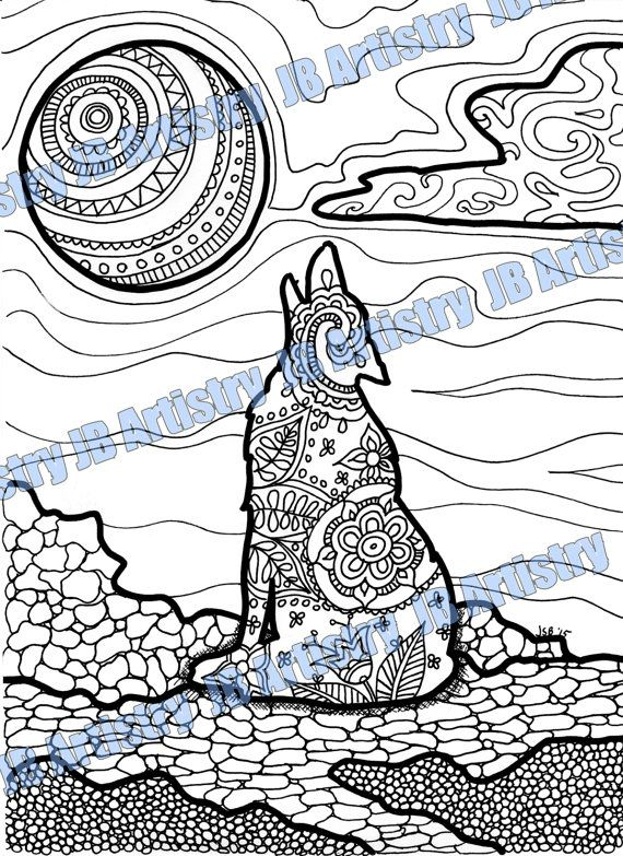 This is a PDF download of Wolf - Coloring page for grown-ups ...