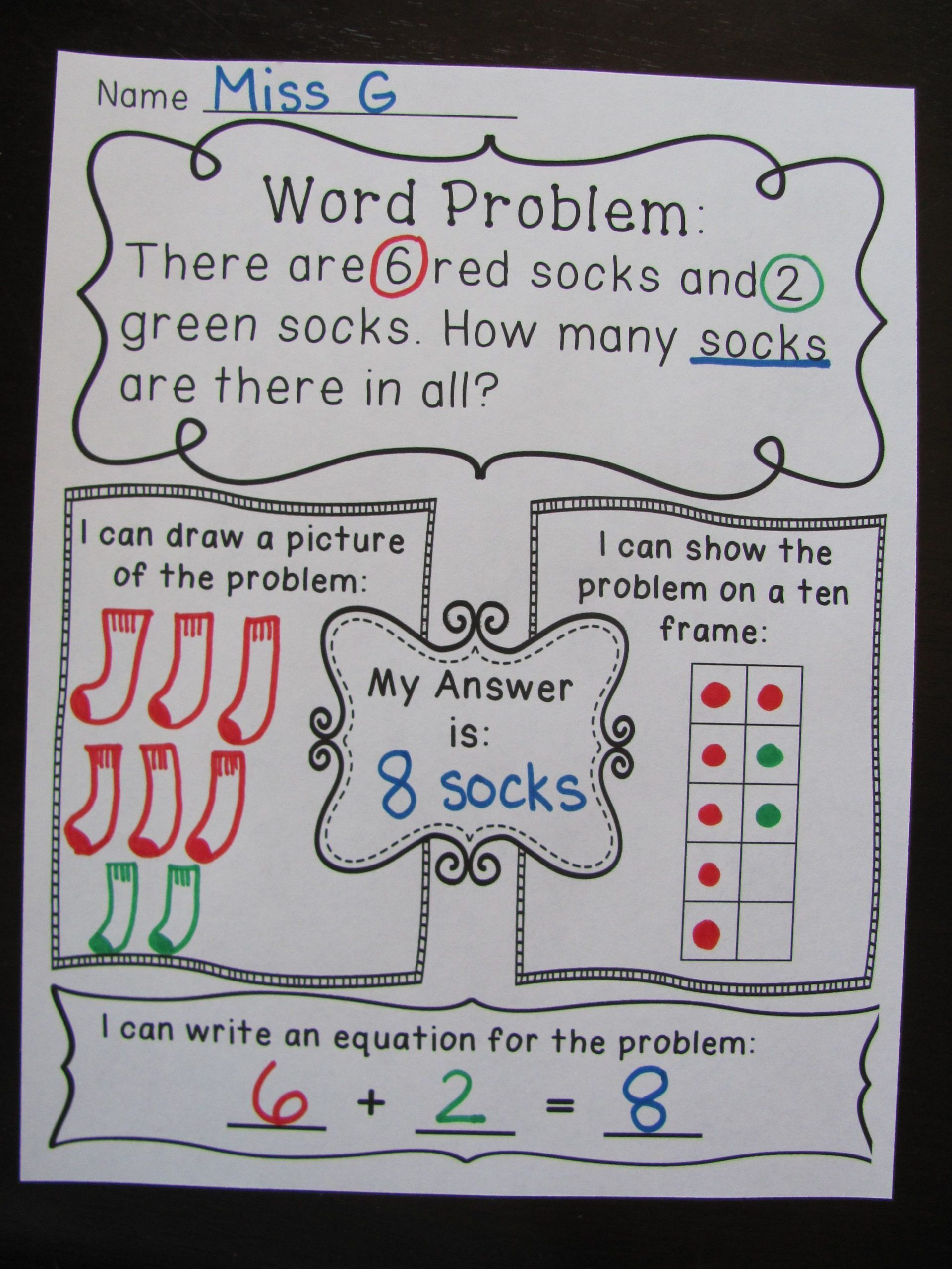 Addition Story Problems 1st Grade Addition Word Problems