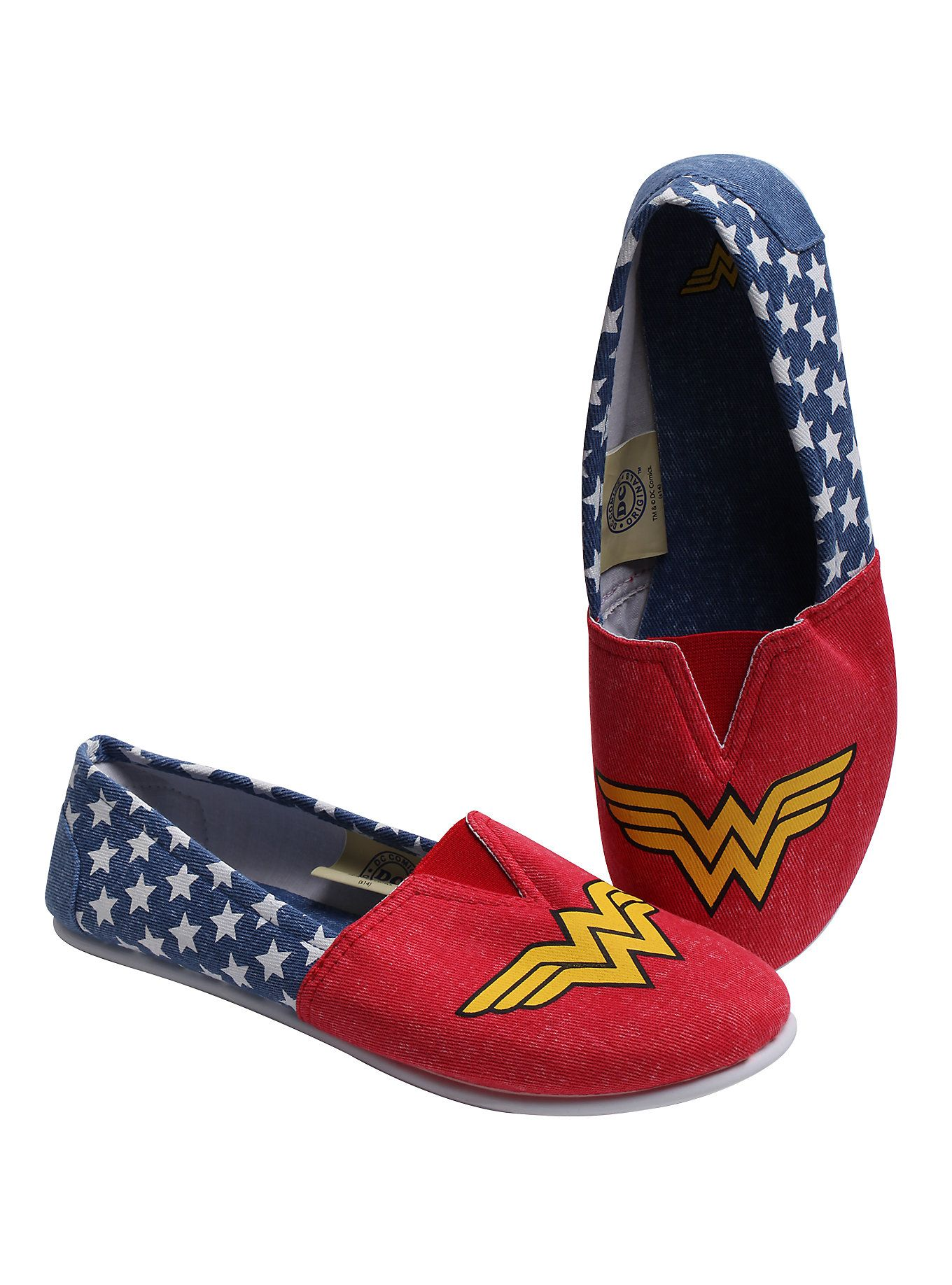 caac96f59e2c Pair of slip-on shoes from DC Comics with Wonder Woman design. BR  BR SM -  5 6 BR MD - 7 8 BR LG - 9 10 ul  li  Man-made materials  li  li Imported ...