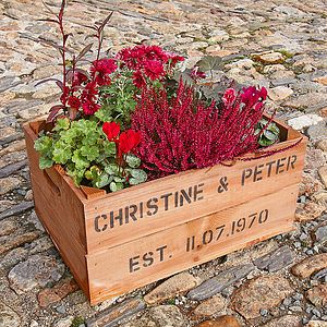 Are You Interested In Our Personalised Wooden Crate Garden Planter? With  Our Personalised Gifts For Gardeners You Need Look No Further.