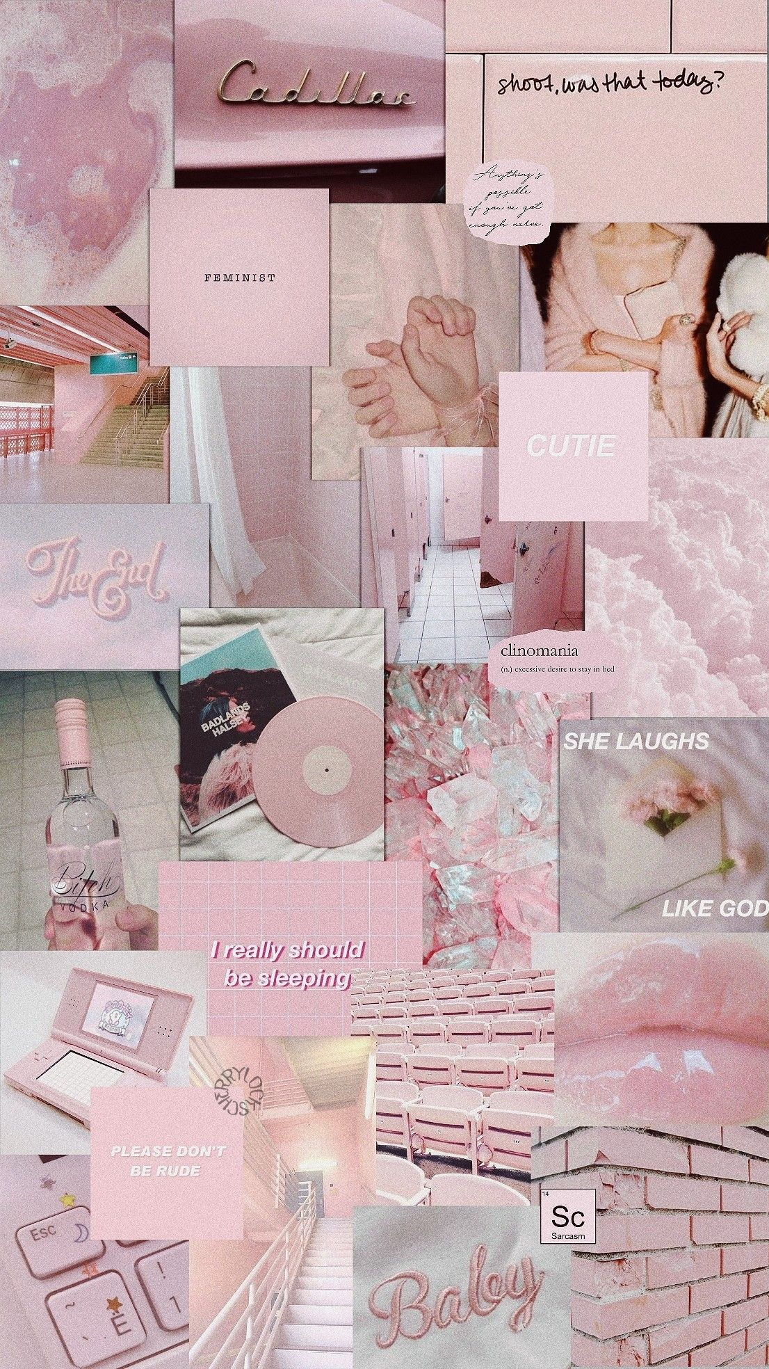 Lockscreen Pink Pastel Aesthetic Collage Wallpaper