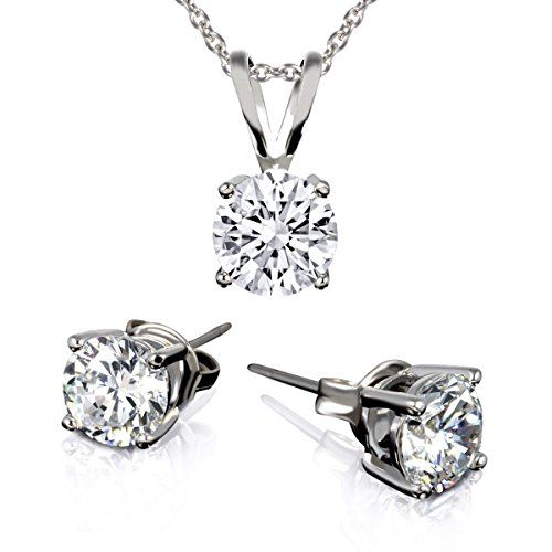 BSD Treasure 3 Carat Total Weight White Cubic Zirconia Necklace and Earrings Set 3 Piece *** To view further for this item, visit the image link.-It is an affiliate link to Amazon. #WeddingEarrings