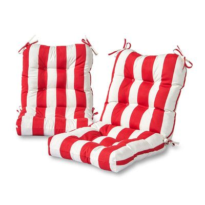 Greendale Home Fashions Cabana Stripe Outdoor Lounge Chair Cushion Fabric: Red