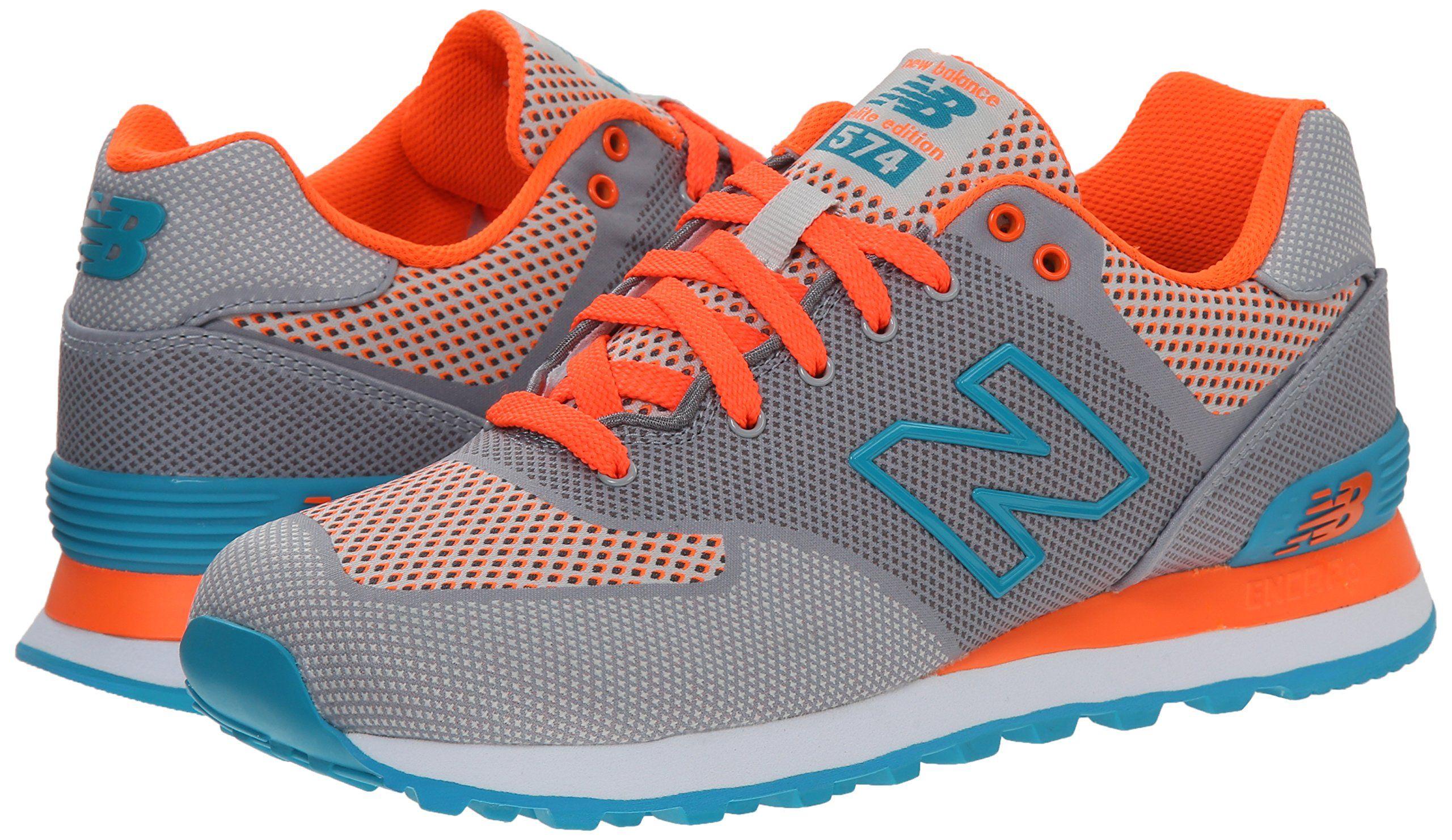 New Balance Women's WL574 Woven Collection Running Shoe, Grey/Light Blue,  ...