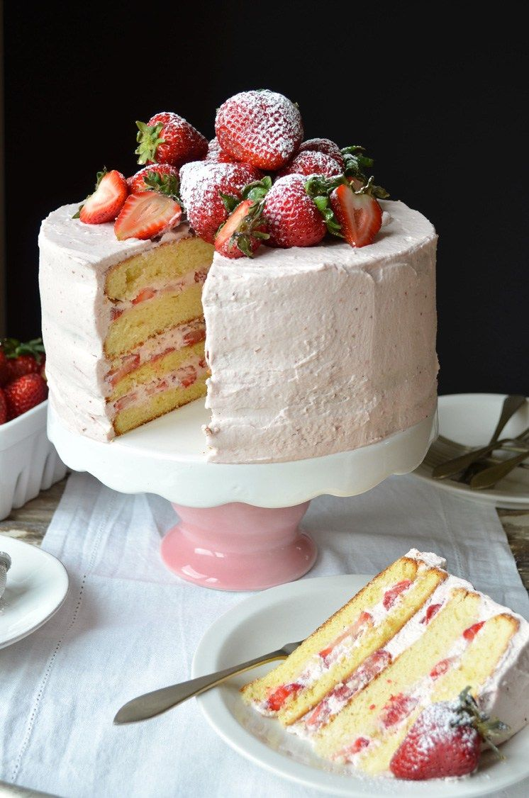 Wondrous Strawberry Sponge Layer Cake With Strawberry Cream Frosting For Birthday Cards Printable Riciscafe Filternl