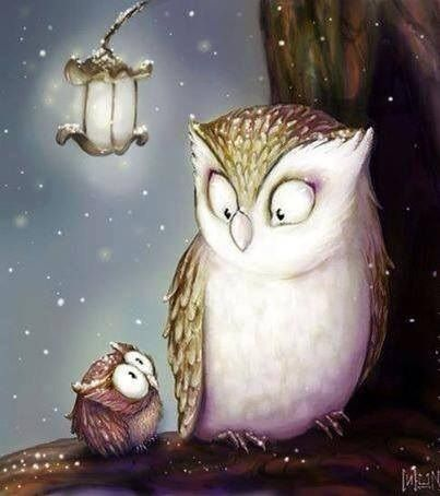 Owls are cute--drawing probably by Elina Ellis. If it isn't a book illustration, it should be.
