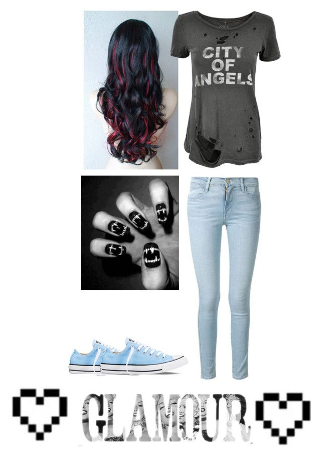 """Glamour"" by bandsaremylife09 ❤ liked on Polyvore featuring Frame Denim, Chaser, Converse, Retrò, women's clothing, women's fashion, women, female, woman and misses"