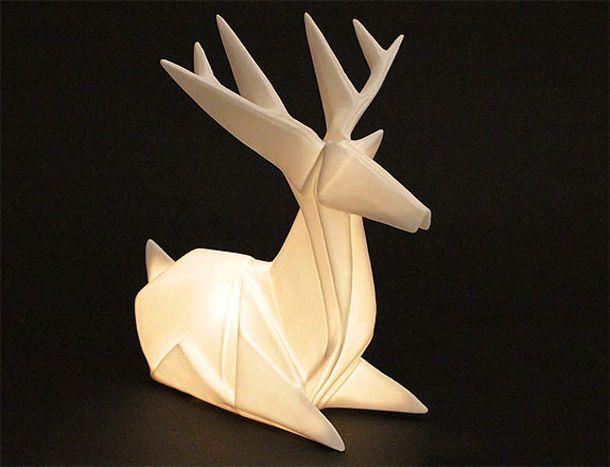 This beautiful, luminous Origami Deer Lamp would look great juxtaposed with deer hide/organic elements. Get it for $125 from Nova68
