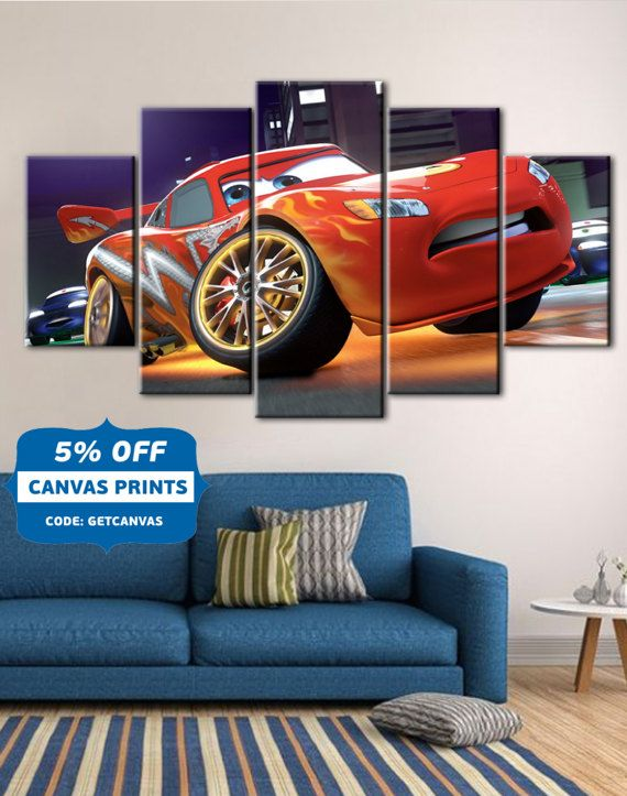 Cars poster, Cars canvas, Lightning Mcqueen art, Kids Room decor ...