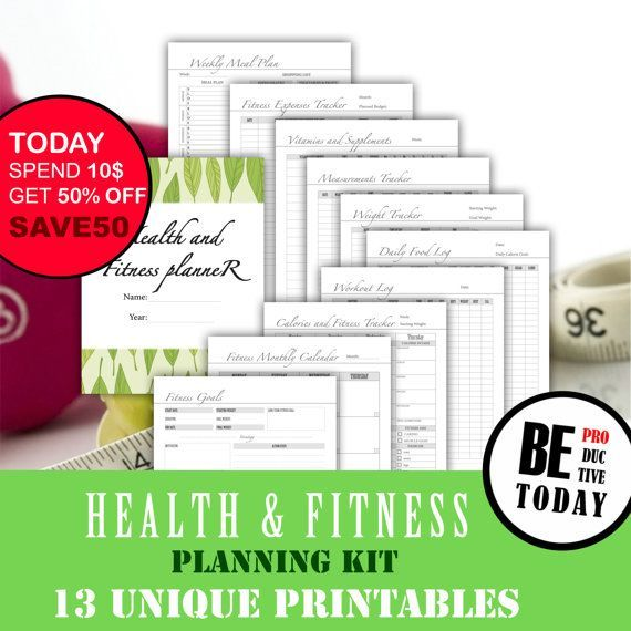 Fitness Planner Bundle, Health and Fitness Journal, Food Diary