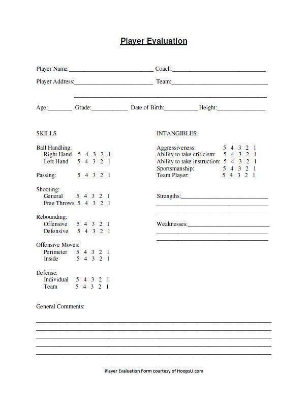 Tryout Evaluation Form Hoops U Basketball Basketball Skills Basketball Workouts Basketball Tryouts