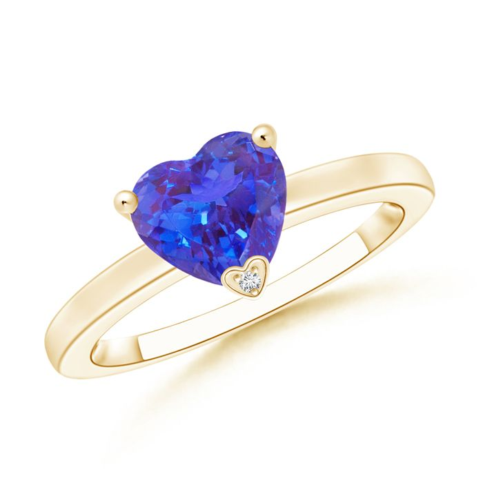 Angara Solitaire Heart Blue Sapphire Promise Ring with Diamond in White Gold XNEYjxe6Fw