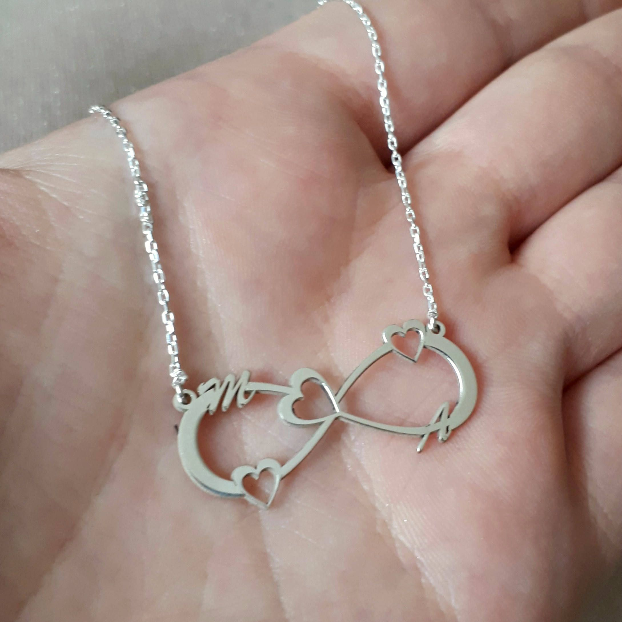 5dde6ee8a777c Initial Infinity Necklace Sterling Silver Infinity Necklace ...