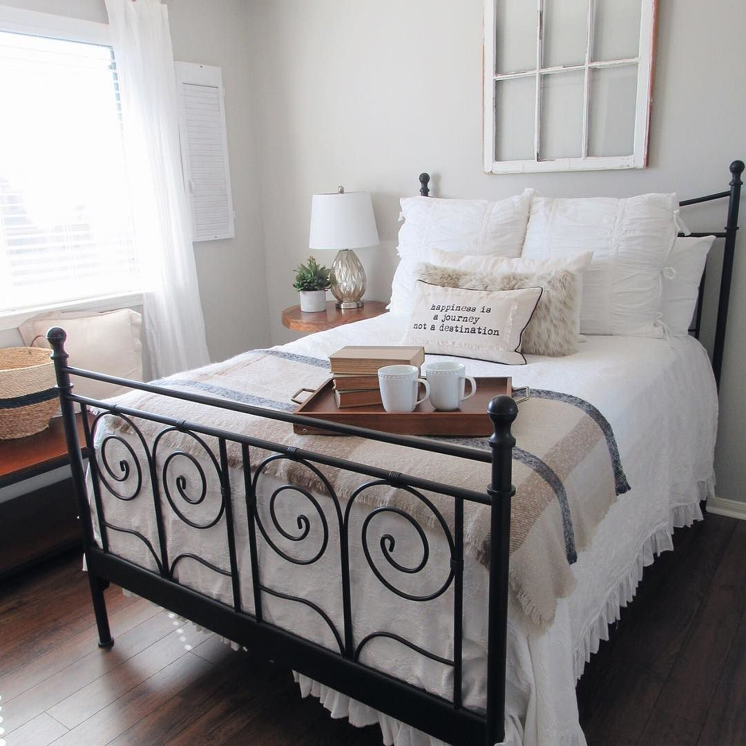 Regan The Blooming Nest Blog On Instagram Finally Sitting Down For A Few Minutes Dinner Is Cooking In The Ikea Bed Frames Ikea Metal Bed Frame Bed Makeover