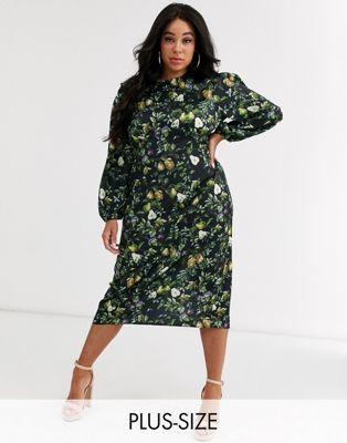 never fully dressed plus sheer long sleeve midi dress in
