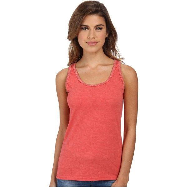 Woolrich Norrine Embroidered Trim Tank (Shell Pink) Women's Sleeveless ($11) ❤ liked on Polyvore featuring tops, pink, red top, pink tank top, red tank top, red sleeveless top and layered tops