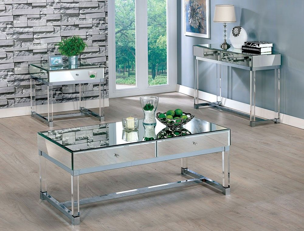 Mirage Mirrored Coffee Table With Drawers