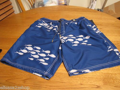 Men's swim trunks shorts Tommy Hilfiger XXL 2XL NEW blue tiny fish mesh minnows