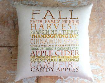 Fall Pillow, Subway Art, Harvest, Fall Decor, Fall Subway Art, Autumn