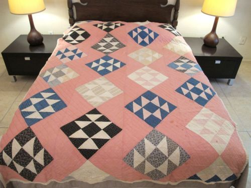 Vintage-Hand-Sewn-Antique-INDIGO-Cottons-JACKS-ON-SIX-Double-X-Very-Nice-QUILT